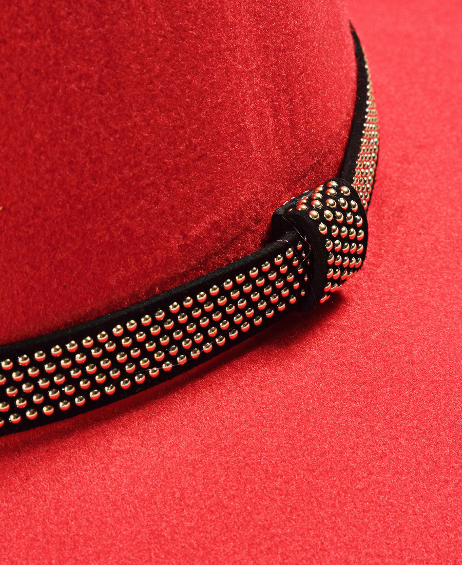 Stud Belt Hat - Red