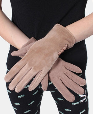 Velour Gloves - Taupe