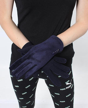 Velour Gloves - Navy