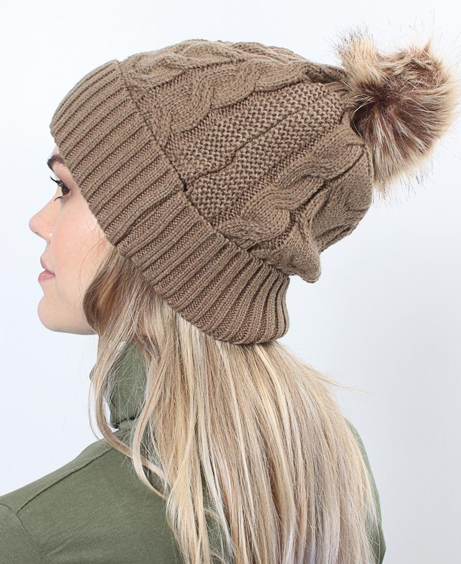Plain Cable Knit Beanie - Taupe