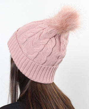 Plain Cable Knit Beanie - Pink