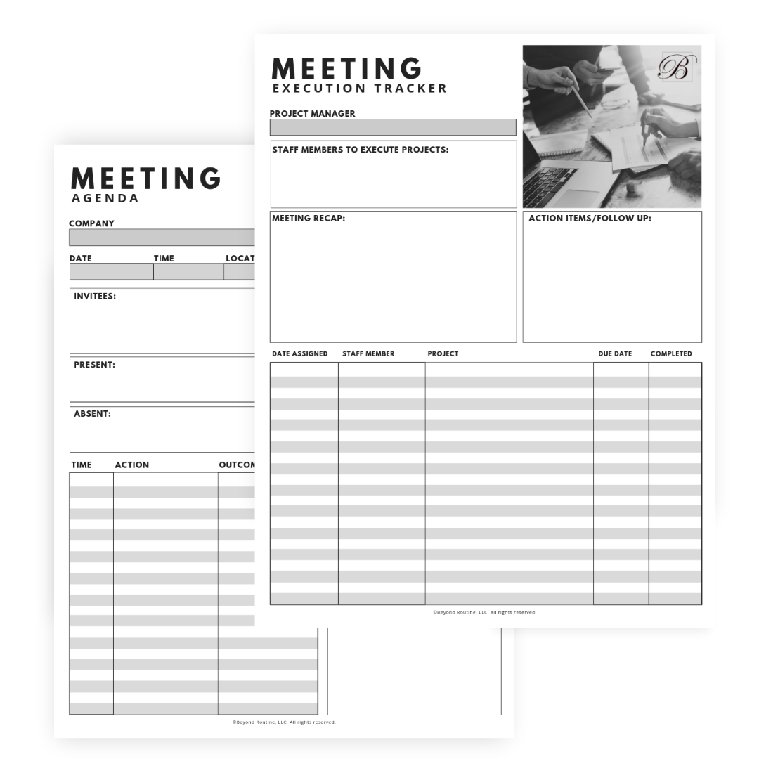 Meeting Agenda & Execution Tracker Sheets