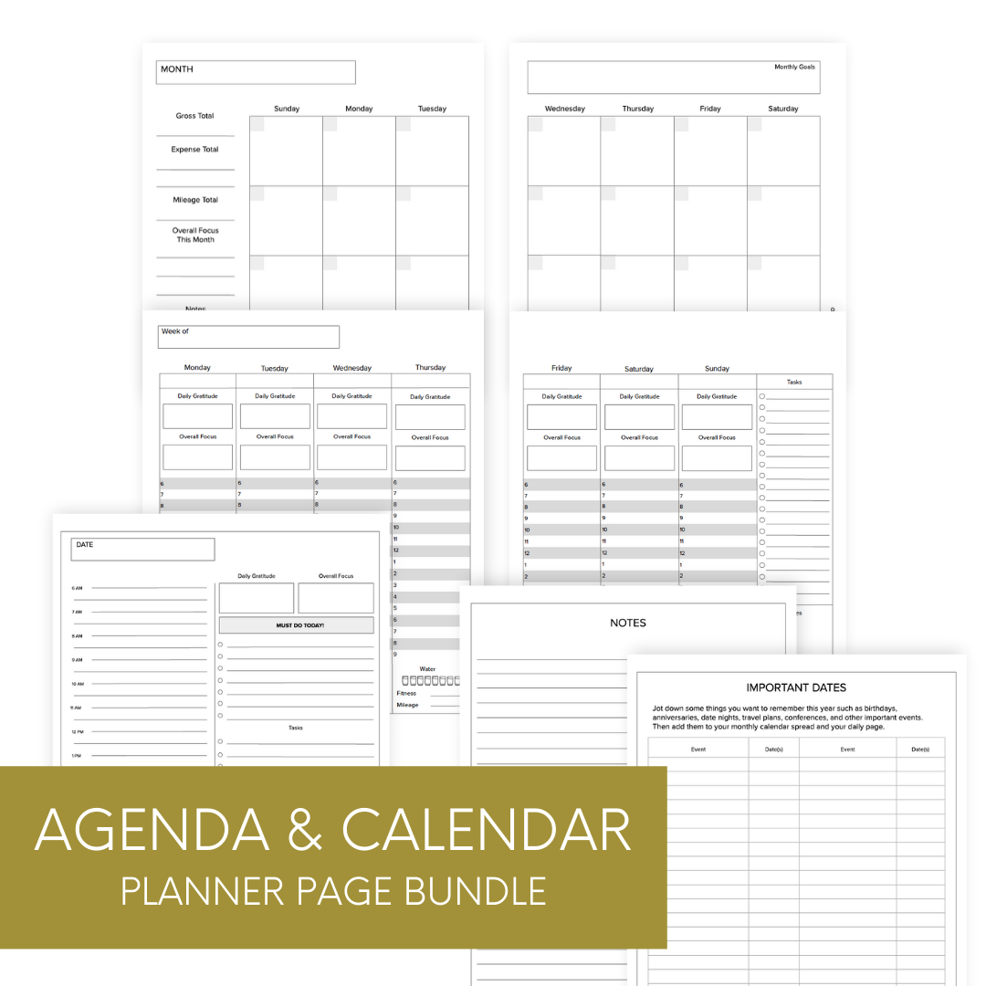Agenda and Calendar Pages