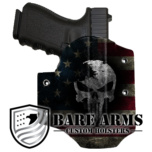 OWB Holster-Distressed Skull on Distressed Flag