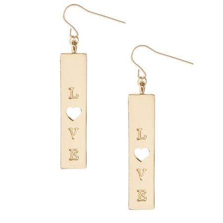 Love Tag Earrings + Gold