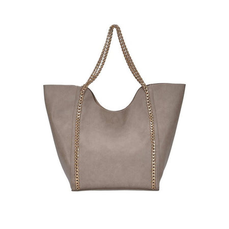 Madison West Taupe Vegan Leather Tote Bag