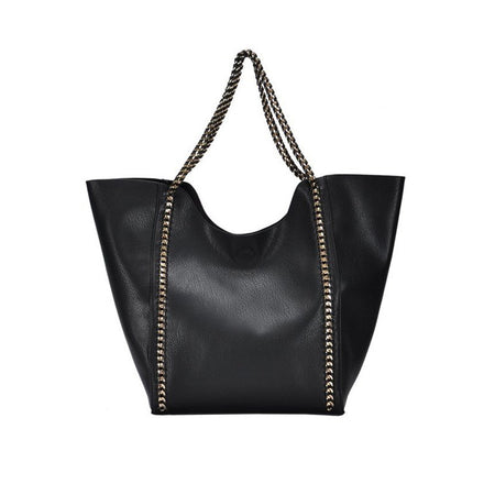 Madison West Black Vegan Leather Tote Bag