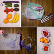 Lotus Produce Bags - Set of 9. Washable, reusable, eco-friendly. 3 different sizes.