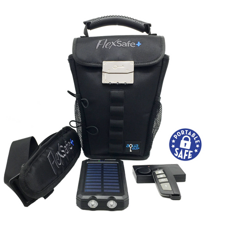 FlexSafe+ (Motion Alarm, Solar Charger, Larger Capacity, & More) - AquaVault Portable Safe