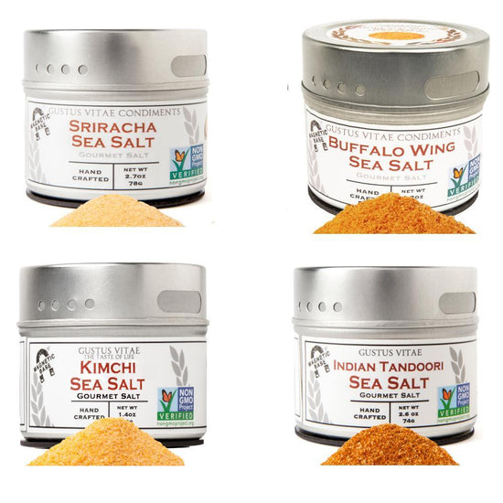 Exotic Sea Salts- Gourmet Finishing Salts - 4 Pack In A Gift Box