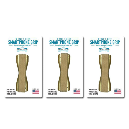 LoveHandle Smartphone Grips - 3 pack - Solid Gold