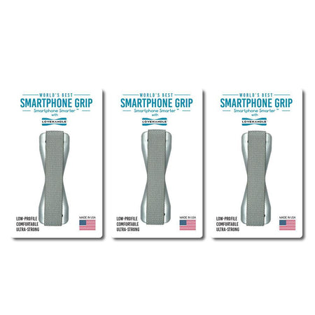 LoveHandle Smartphone Grips - 3 pack - Solid Silver