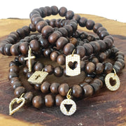 Pave Round Heart Prayer Bead Bracelet