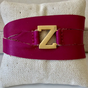 Pink Leather Garamond Initial Wrap Bracelet