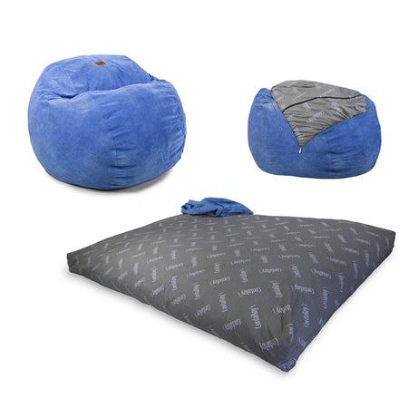 Queen Convertible Bean Bag - Royal Blue Corduroy