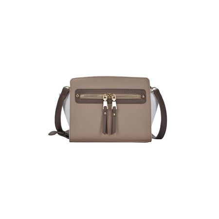 Taupe/Taupe Color Block Structured Crossbody Bag