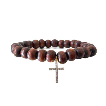 Pave Cross Prayer Bead Bracelet