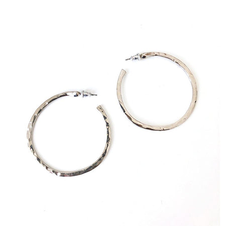 Brooke Hammered Hoop Earring - Rhodium