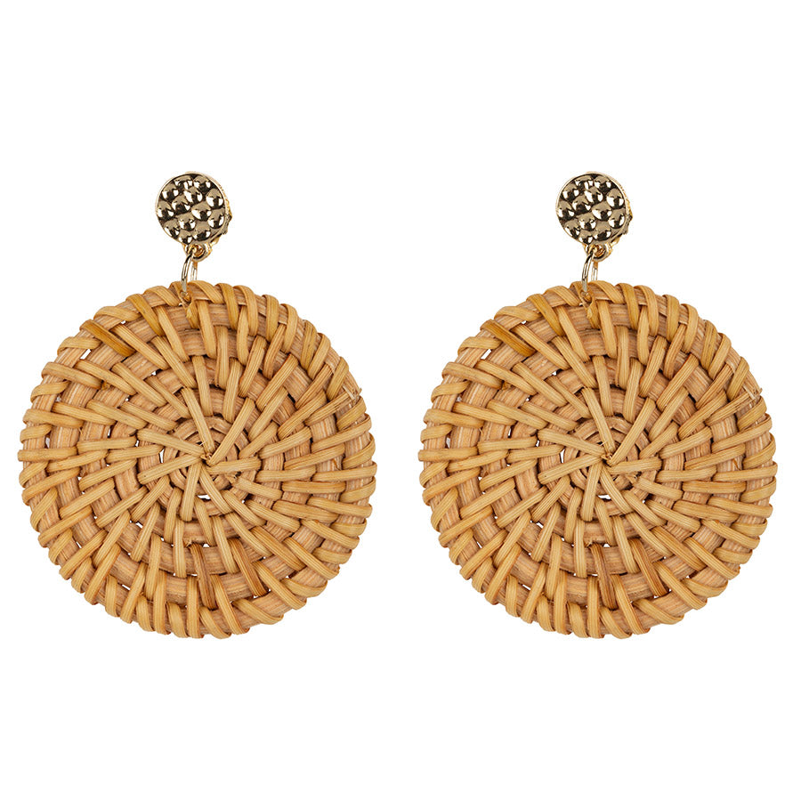 Rotan Disc Earrings