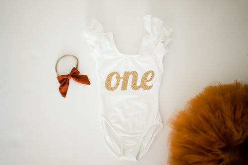 First Birthday Leotard Outfit - Gold One with Copper Tutu + Bow