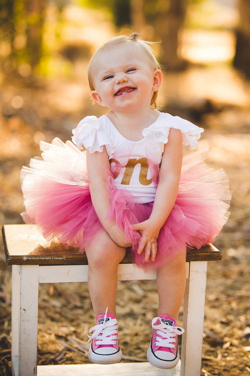 First Birthday Leotard Outfit - Gold One with Dusty Rose Tutu