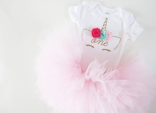 Gold and Pink Unicorn Outfit | First Birthday Outfit