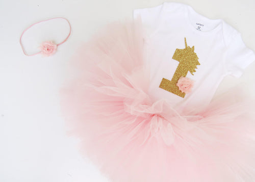 Gold 1 Unicorn and Pink Flower | First Birthday Outfit