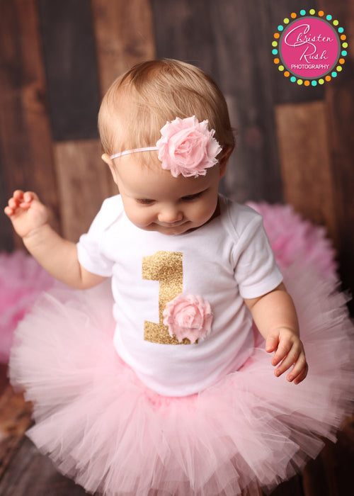Light Pink and Gold 1 | First Birthday Outfit