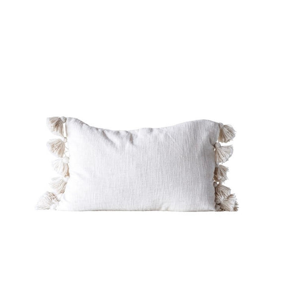 Slub Pillow w/ Tassels - Cream