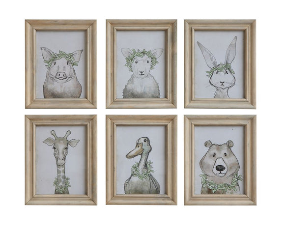 Wood-Framed Animal Sketches