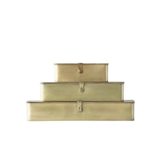 Decorative Boxes in Brass Finish