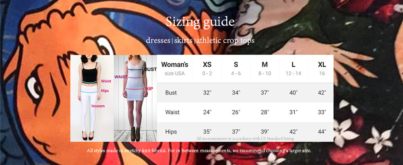 Dresses, Skirts. Crop Tops Sizing Charts