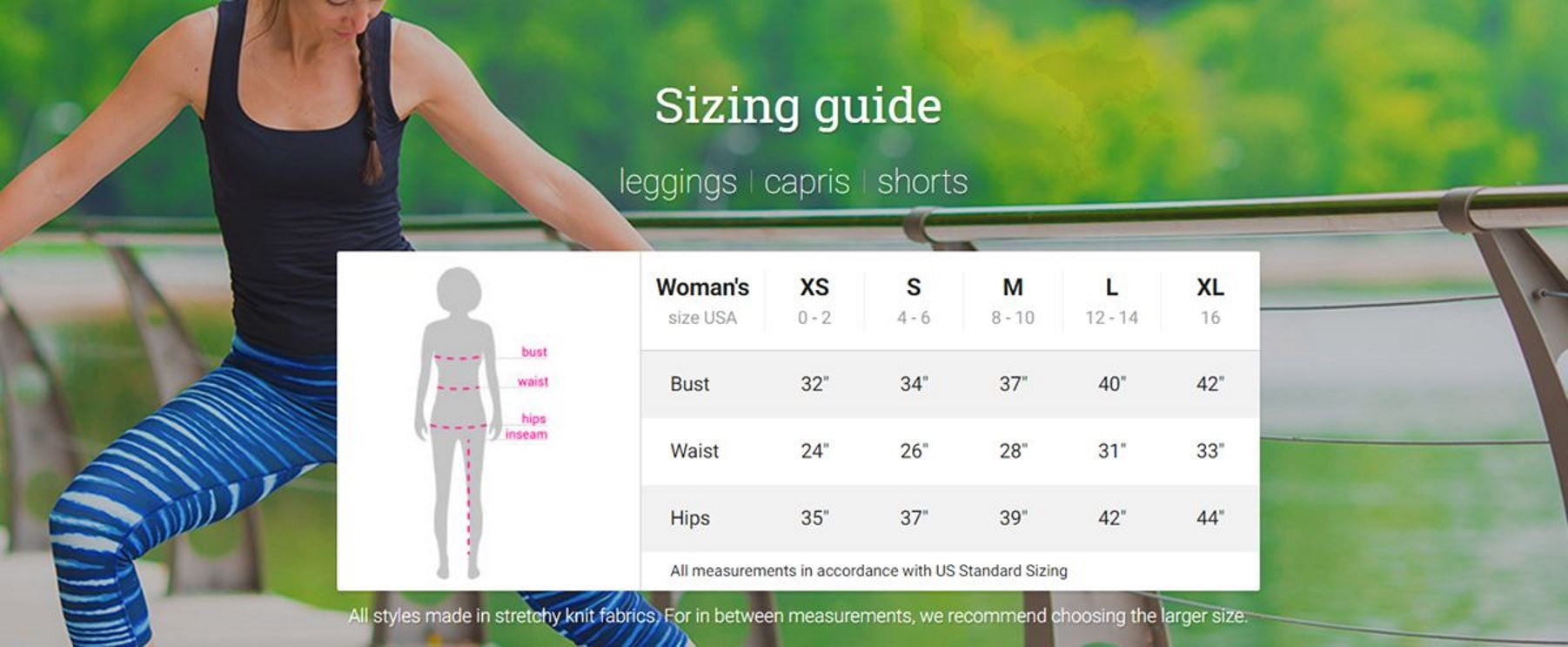 Leggings & Capris Sizing Chart