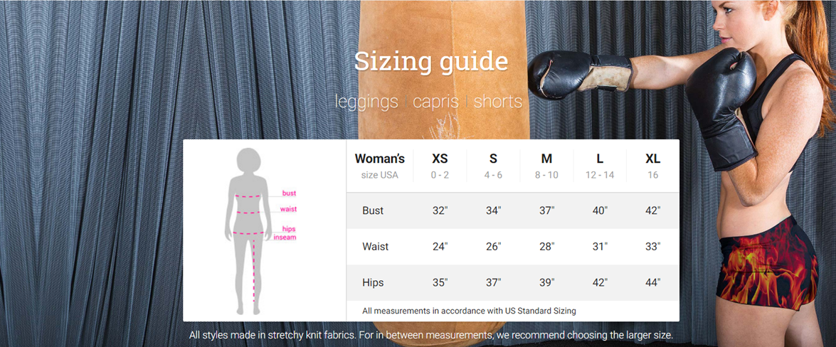 Athletic Shorts Sizing Charts