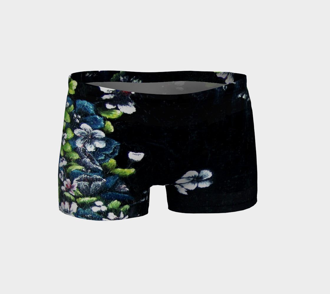 "Athletic Shorts, Performance Wear, ""Flower Pots with White Plate"""
