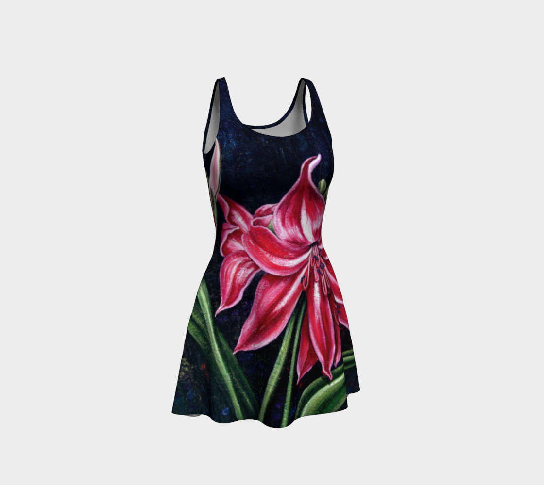"""Flare Dress, Curve Enhancing Dress, Printed from Original Oil Painting, """"Red Lilies"""""""