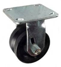 "4"" x 2"" Cast lron V-Groove Wheel Rigid Caster - 600 Lbs  Capacity"