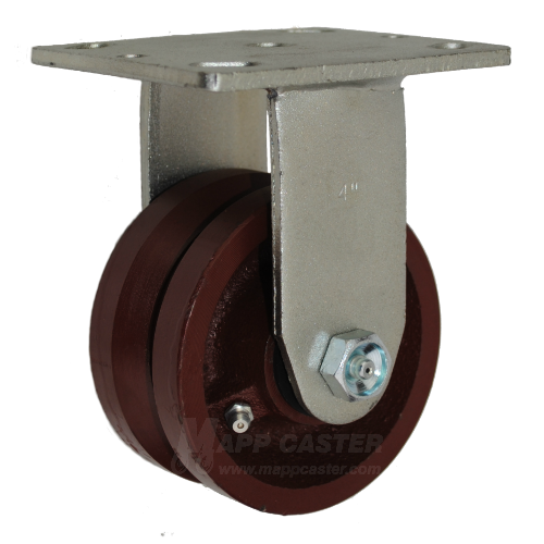"4"" x 2"" Ductile Steel V-Groove Wheel Rigid track Caster - 1,500 Lbs Capacity"