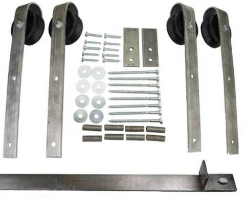 Double Sliding Barn Door Hardware Kit Loope Hanger With 10 Foot Track  Included