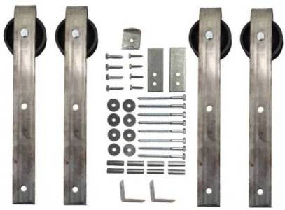 Double Sliding Barn Door Hardware Kit Loope Hanger With 15 Foot Track  Included