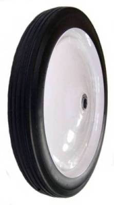 "16"" x 1-3/4"" Flat Free Wheel with Ball Bearings & 2-3/4"" Centered Hub - 150 Lbs Capacity"