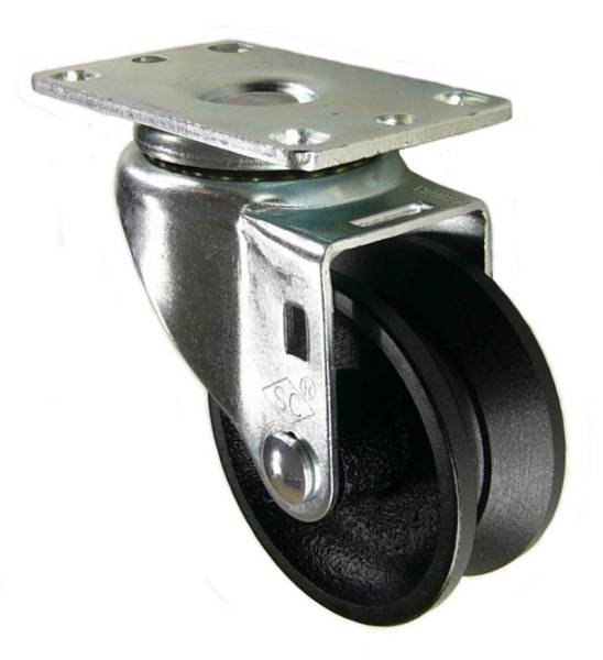 "3"" x 1-1/4"" Cast Iron V-Groove Wheel Swivel Caster - 350 Lbs Capacity"