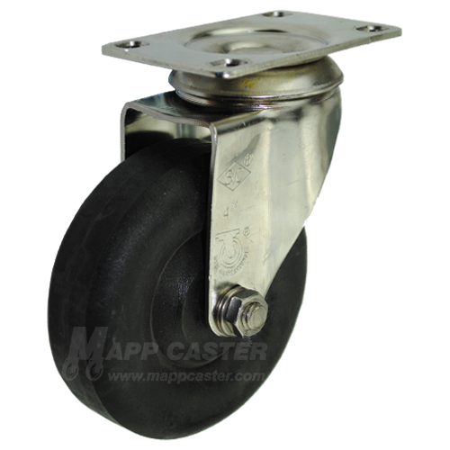 "4"" x 1-1/4"" High Temp Nylon Stainless Steel Swivel Caster - 350 Lbs Capacity"