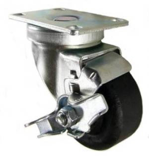 "3"" x 1-3/8"" High Temp Wheel Nylon Wheel Swivel Caster with Brake - 350 Lbs Capacity"