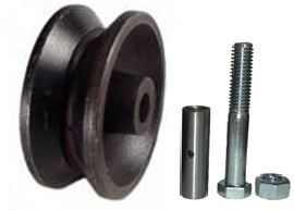 "3"" x 1-1/4"" Interior Barn Door V Groove Cast Iron Wheel Kit with 3/8"" Axle & Nut - 350 Lbs Capacity"