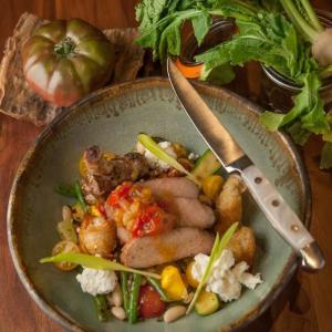 Heirloom Tomato & Summer Bean Panzanella with Grilled Pork Chops