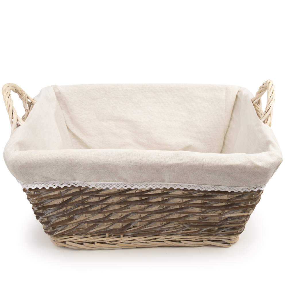 Rectangular split willow gift basket with cotton liner