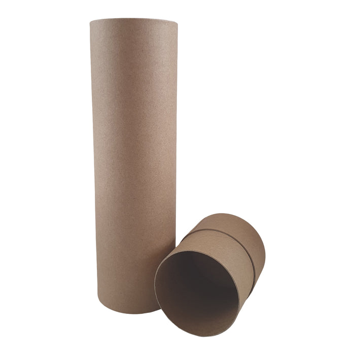 Kraft cardboard tube with lid off