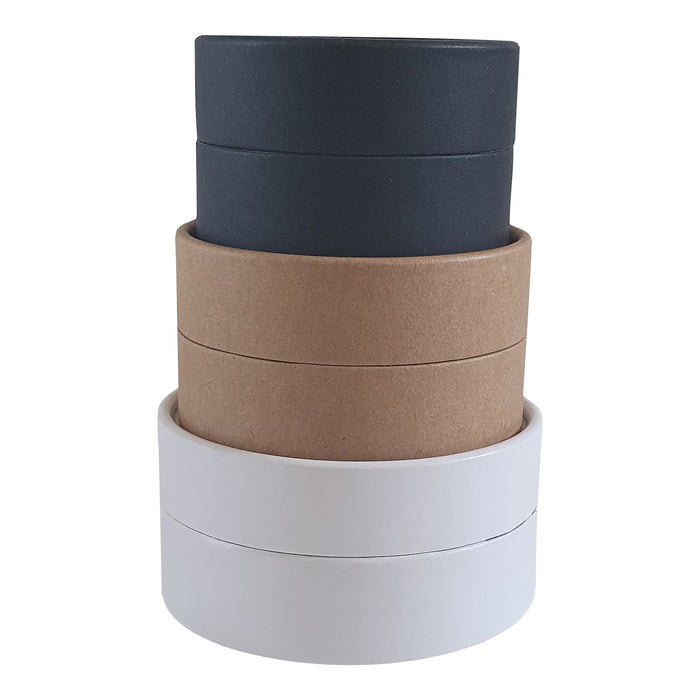 Waxed lined cardboard jars in white, brown and black