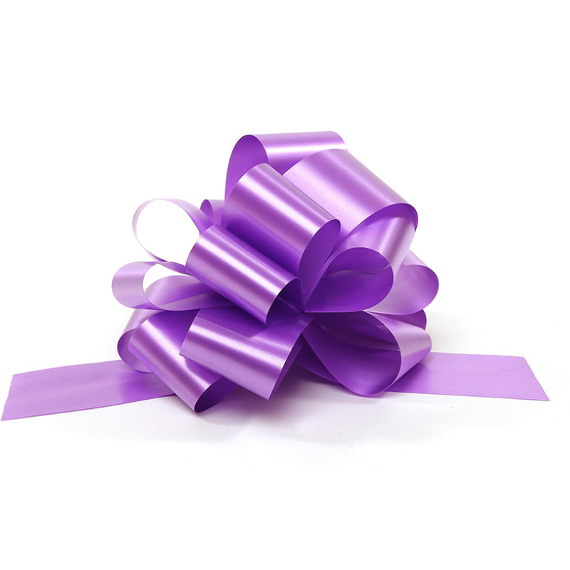 A purple pull bow
